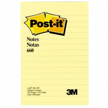 """3M-660YL-Post-It YellowLined-Note-4""""x 6"""""""