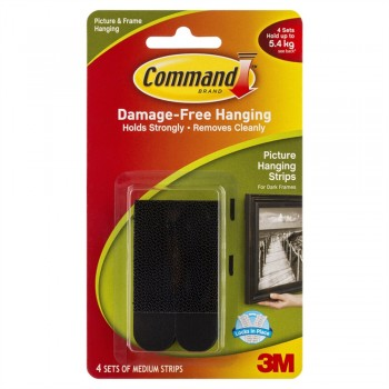 3M 17201/B Command Medium Picture Hanging Strip Black