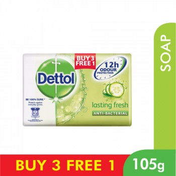 Dettol Body Soap Lasting Fresh 105g 3+1 (free)