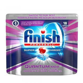 Finish Quantum Max Power Ball Dishwasher Cleaning Tablets 18 pieces