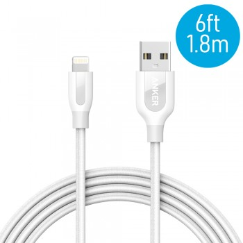 Anker A8122 PowerLine+ 6ft MFI Lightning Connector Cable - White (1.8M)