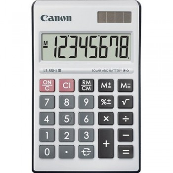 Canon Calculator LS-88Hi III - 8-Digit Mini Desktop Calculator, Portable Compact Size - Black