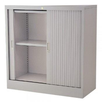 Half-Height Steel Cupboard L38A - Roller Shutter Door with 2 Shelves