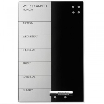 "MAGNETIC FRAMELESS WEEKPLANNER ""DK""/BLK ~ Magnetic Frameless Steel WeekPlanner Silver Week ""DK""/BLACK. Planner + 2 Markers + 6 Super Magnets."