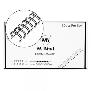"M-Bind Double Wire Bind 2:1 A4 - 1-1/2""(38mm) X 23 Loops, 30pcs/box, Black"