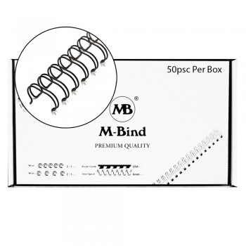 "M-Bind Double Wire Bind 2:1 A4 - 1""(25.4mm) X 23 Loops, 50pcs/box, Black"