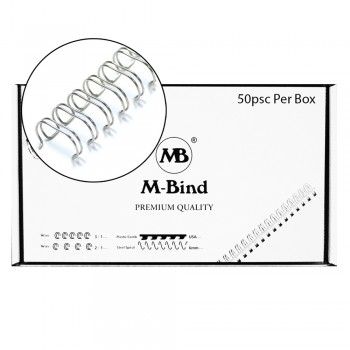 "M-Bind Double Wire Bind 2:1 A4 - 1""(25.4mm) X 23 Loops, 50pcs/box, Silver"