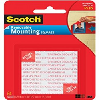 """3M 108 Scotch Removable Mounting Square 1""""x 1"""""""