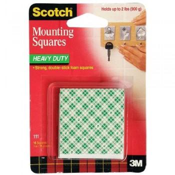 "3M 111 Scotch Heavy Duty Mounting Square 1""x 1"""