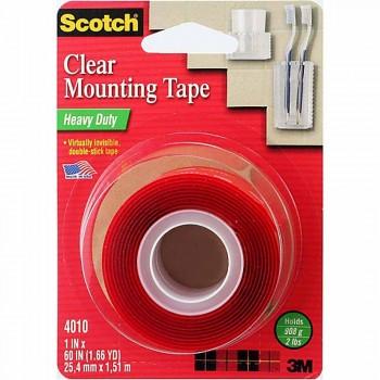 "3M 4010 Scotch Heavy Duty Clear Mounting Tape 1""x60"""