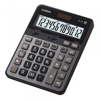 Casio Heavy Duty Calculator - 12 Digits, Solar & Battery, Tax Calculation, Currency Exchange (DS-2B)
