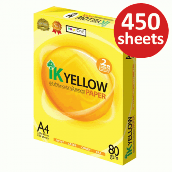 IK Yellow Paper 80gsm - A4 size - 1 ream - 450 sheets