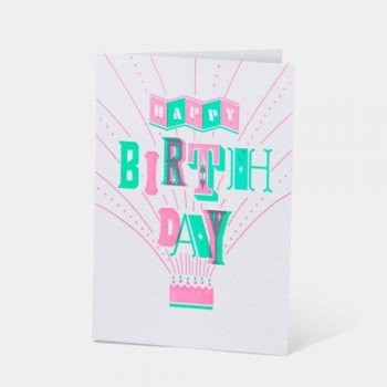 Letterpress Card - Happy Birthday Firecraker