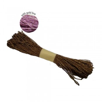 Colorful Paper Rope 25meters with Gold Line - Soft Brown
