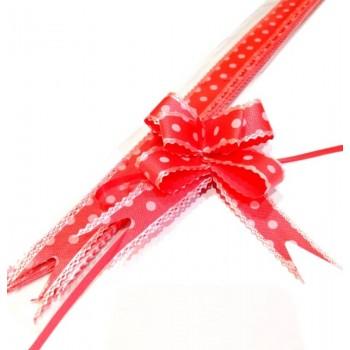 Pull Flower Ribbon Cotton 23mm Red (10 pcs)