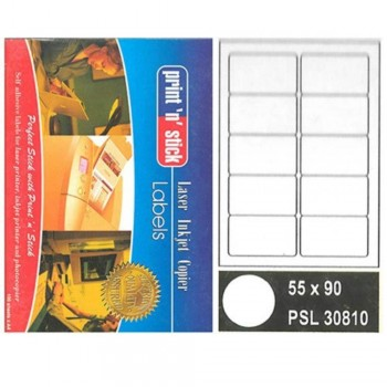 Print n Stick A4 Laser Inkjet Label Stickers 10pcs - 55mm x 90mm, 100sheets (Item No: R01-10) A1R3B194
