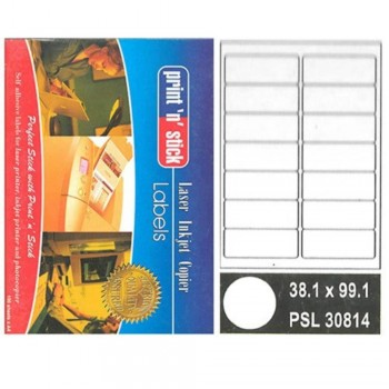 Print n Stick A4 Laser Inkjet Label Stickers 14pcs — 38.1mm x 99.1mm, 100sheets (Item No: R01-12) A1R3B193