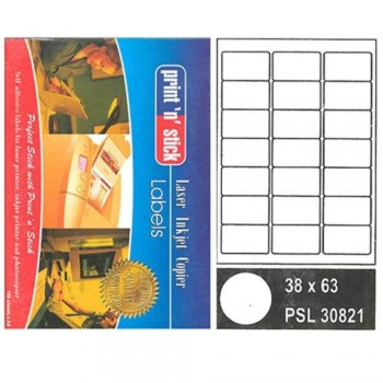 Print n Stick A4 Laser Inkjet Label Stickers 21pcs — 38mm x 63mm, 100sheets (Item No:r01-15) A1R3B196