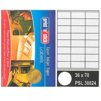 Print n Stick A4 Laser Inkjet Label Stickers 24pcs — 36mm x 70mm, 100sheets (Item No:R01-16) A1R3B208